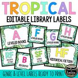 Tropical Decor: Editable Library Labels (GENRE & LEVELS)
