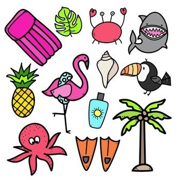 Tropical Doodles - Clip Art [IN COLOR!]
