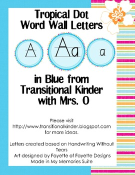 Tropical Dot Word Wall ABC's in Blue