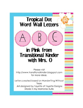 Tropical Dot Word Wall ABC's in Pink