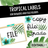 Tropical Drawer and File Folder Labels