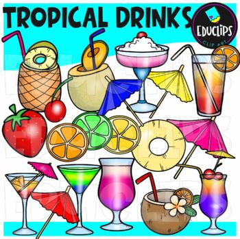 Tropical Drinks Clip Art Bundle Educlips Clipart By Educlips