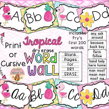 Tropical Dry Erase Word Wall Print & Cursive