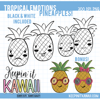 Tropical Emotions Pineapple Clip Art Set - Emotions Clipart