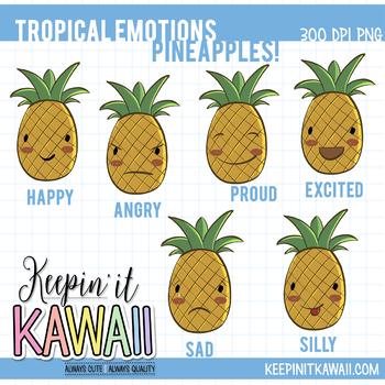 Tropical Emotions Pineapple Clip Art Set - Emotions Clipart