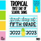 Tropical First Day of School Sign for Fifth (5th) Grade *FREE*