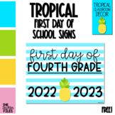Tropical Theme First Day of School Sign for Fourth (4th) Grade *FREE*