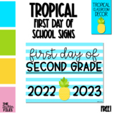 Tropical First Day of School Sign for Second (2nd) Grade *FREE*