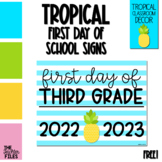 Tropical First Day of School Sign for Third (3rd) Grade *FREE*