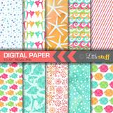 Tropical Fish Digital Paper, Ocean Digital Backgrounds, Se