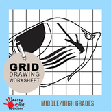 Tropical Fish Grid Drawing Worksheet for Middle/High Grades