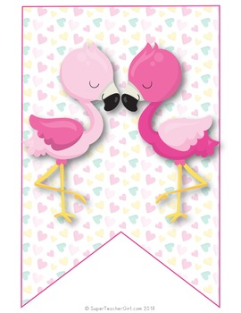 Tropical Flamingo Banners & Labels EDITABLE & CUSTOMIZABLE