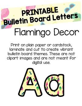 Tropical Flamingo Bulletin Board Letters (Printable)