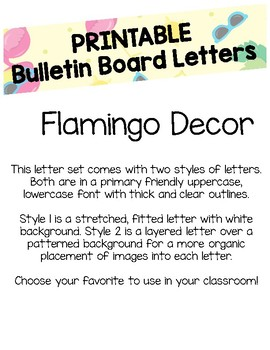 Tropical Flamingo Bulletin Board Letters (Printable)