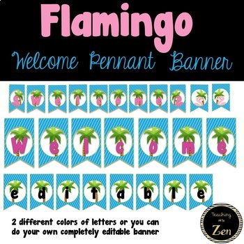 Tropical Flamingo Editable Welcome Pennant Banner