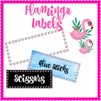 Tropical Flamingo Labels Assorted - Blue Texture, White and Black!