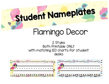Tropical Flamingo Nameplates and desk size 120 chart