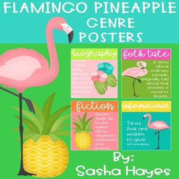 Tropical Flamingo Pineapple Genre Posters