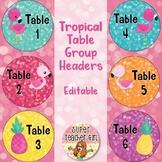 Tropical Flamingo Table Group Headers EDITABLE