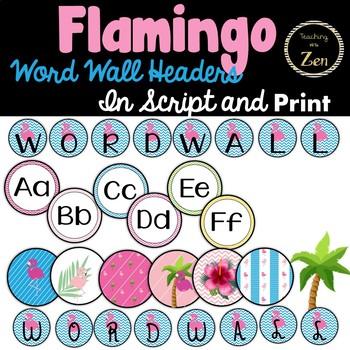 Tropical Flamingo Word Wall Headers - Editable