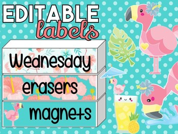 Tropical Flamingos Editable Labels | Name Tags | Mailbox | Sterilite Drawer