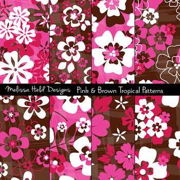 Pink Red Tropical Floral Patterns