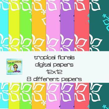 Tropical Florals Digital Papers