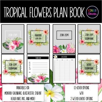 Tropical Flowers Teacher Planner 2018-2019