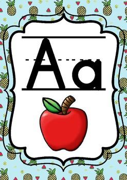Tropical Fruit Alphabet Posters