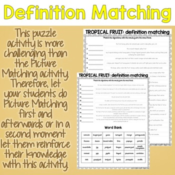 Tropical Fruit Vocabulary Matching Puzzles