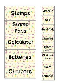 Tropical Fun Teacher Toolbox Label Cards