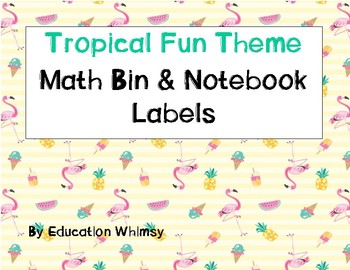 #flamingofriday Tropical Fun Theme Math Bin & Notebook Labels