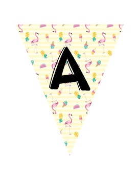 Tropical Fun Themed Banners- Letters and Numbers