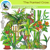 Tropical Garden Clip Art - Plants - Vegetation - Color & Blackline