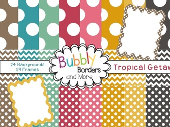 Tropical Getaway Set~ Chevron & Polka Dots Backgrounds with Frames