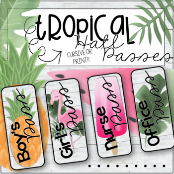 Tropical Hall Passes in 2 sizes (pineapples, flamingos, popsicles, more!)