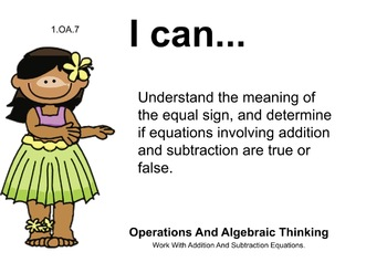 Tropical Hawaii Theme 1st grade math Common Core Posters first Grade Standards