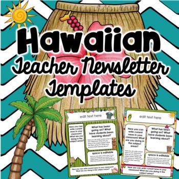 Tropical/Hawaiian Teacher Newsletter Templates