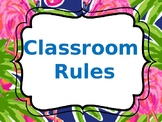 Tropical/Hawaiian Theme Classroom rules-editable