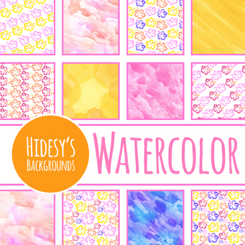 Tropical Hibiscus / Island Themed Handpainted Watercolor Digital Papers