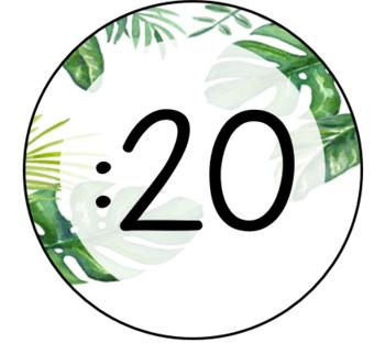 Tropical Jungle Leaf Clock Number Labels