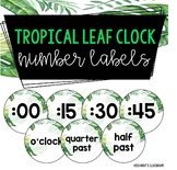 Tropical Jungle Leaf Clock Number Labels