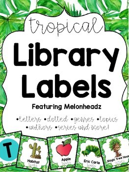 Tropical/Jungle Library Labels featuring Melonheadz with corresponding stickers