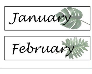 Tropical Jungle theme calendar