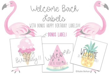 Tropical Labels with **BONUS Happy Birthday labels**