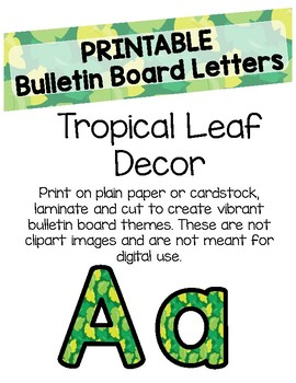 Tropical Leaf Bulletin Board Letters (Printable)