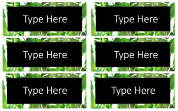 Tropical Leaf Classroom Labels and Student Name Plates -  Editable