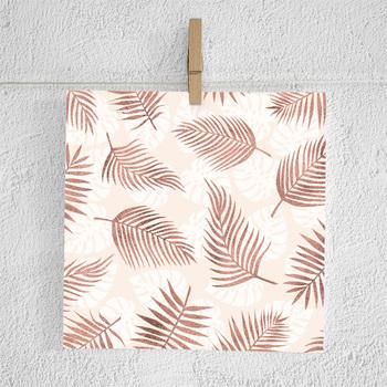 Tropical Leaf Digital Paper, Blue Danube & Springtime Peach Colors