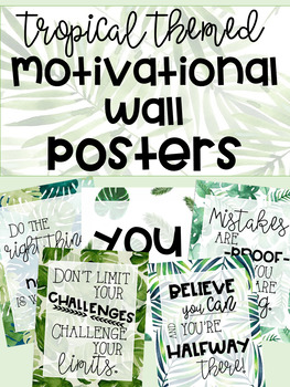 Tropical Leaf Themed Motivational Wall Posters