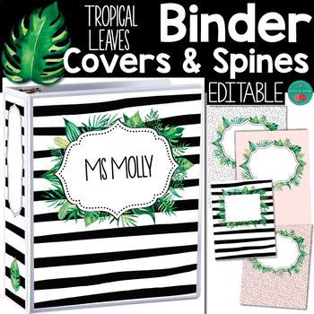 Tropical Leaves  Binder Covers